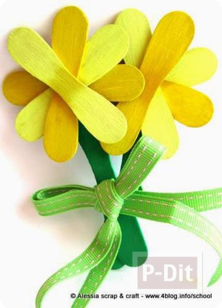 ดอกไม้สวยๆ ประดิษฐ์จากไม้ไอติม