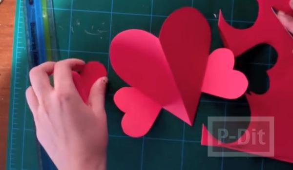 รูป 3 การ์ดวาเลนไทน์ หัวใจริบบิ้น หัวใจกระดาษ