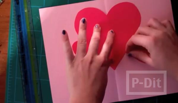 รูป 4 การ์ดวาเลนไทน์ หัวใจริบบิ้น หัวใจกระดาษ
