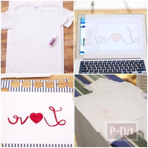 รูป 2 เสื้อยืด ตกแต่งคำว่า รัก