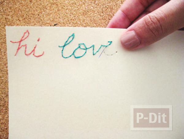 เขียนข้อความ บนกระดาษ ร้อยเชือก