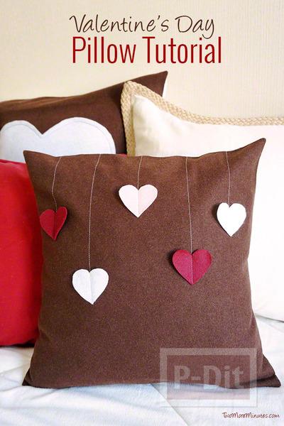 รูป 2 หมอนอิงทำเอง ของขวัญแฟน หัวใจหวานๆ