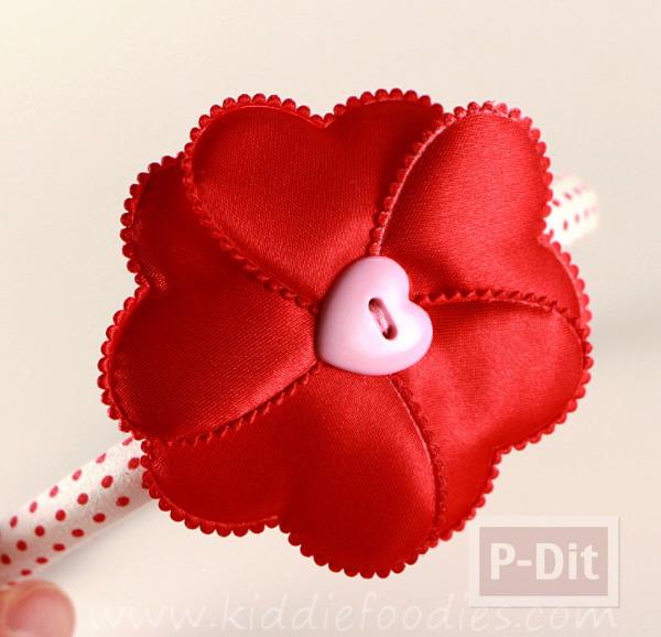 รูป 1 ทำที่คาดผม ลายหัวใจ สีแดงสดใส