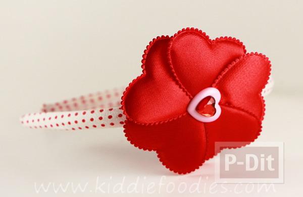 รูป 5 ทำที่คาดผม ลายหัวใจ สีแดงสดใส