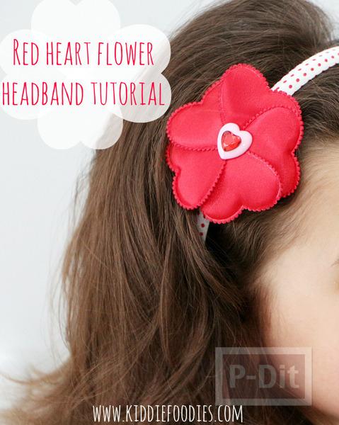 รูป 6 ทำที่คาดผม ลายหัวใจ สีแดงสดใส