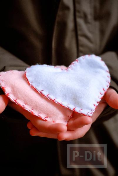 รูป 2 หัวใจผ้า เย็บเอง สวยๆ