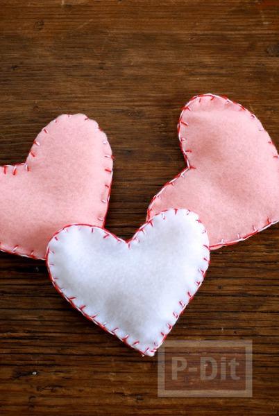 รูป 3 หัวใจผ้า เย็บเอง สวยๆ