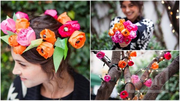 มงกุฎดอกไม้ ช่อดอกไม้ โมบาย สีสด