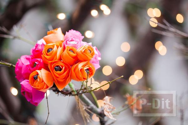 รูป 6 มงกุฎดอกไม้ ช่อดอกไม้ โมบาย สีสด