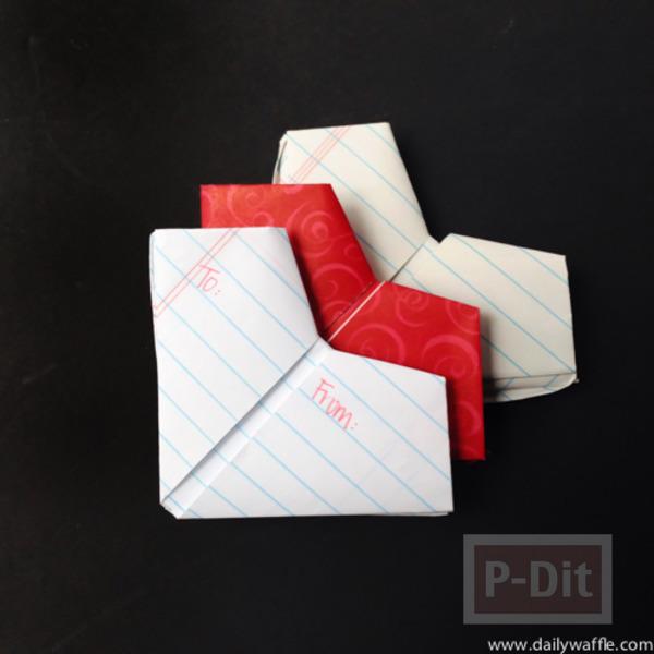 รูป 1 สอนพับหัวใจกระดาษ จากกระดาษสมุด