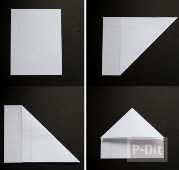 รูป 2 สอนพับหัวใจกระดาษ จากกระดาษสมุด