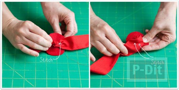 รูป 3 ดอกกุหลาบผ้า ทำประดับที่คาดผม