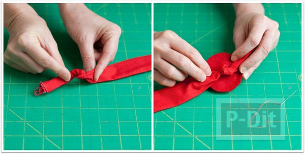 รูป 5 ดอกกุหลาบผ้า ทำประดับที่คาดผม