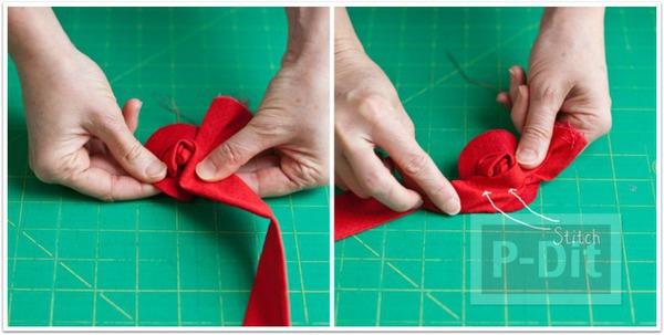 รูป 6 ดอกกุหลาบผ้า ทำประดับที่คาดผม