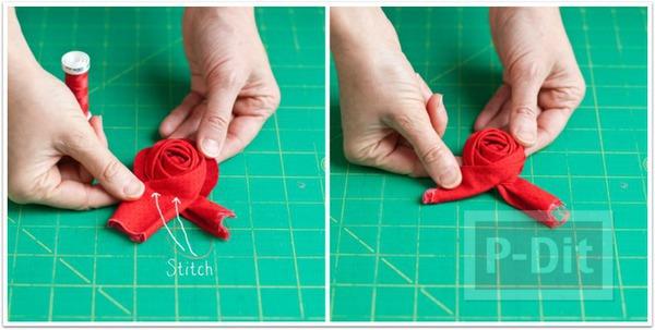 รูป 7 ดอกกุหลาบผ้า ทำประดับที่คาดผม