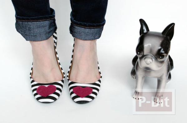 รูป 1 รองเท้าคัชชู ตกแต่งลายหัวใจ สีแดง