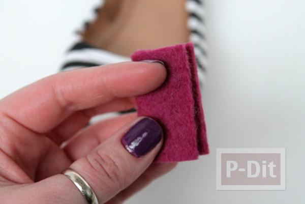 รูป 4 รองเท้าคัชชู ตกแต่งลายหัวใจ สีแดง