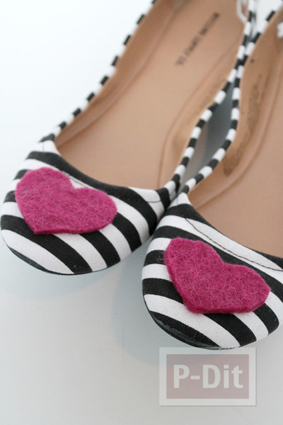 รูป 7 รองเท้าคัชชู ตกแต่งลายหัวใจ สีแดง