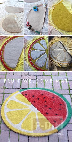 รูป 2 พรมเช็ดเท้า พ่นสี ลายผลไม้