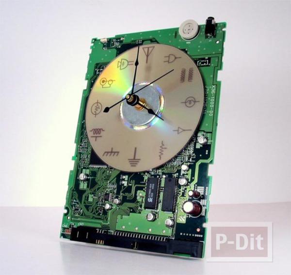 นาฬิกา ทำจากการ์ดคอมพิวเตอร์ แผ่น CD เก่าๆ