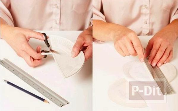 รูป 2 โคมไฟ ตกแต่งด้วย จานกระดาษ