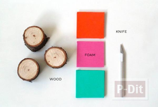 รูป 3 สอนทำตัวปั้ม จากท่อนไม้และโฟมพลาสติก