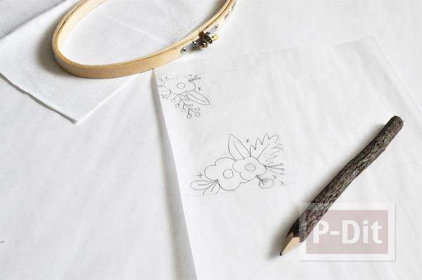 รูป 4 ซองใส่มือถือ ปักลายดอก