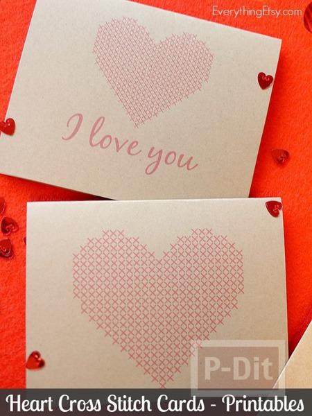 รูป 3 การ์ดวาเลนไทน์ ลายหัวใจ ส่งความรัก