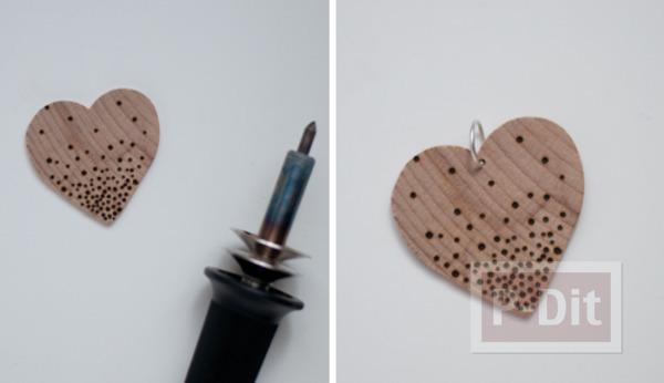 รูป 4 พวงกุญแจหัวใจ ทำจากแผ่นไม้