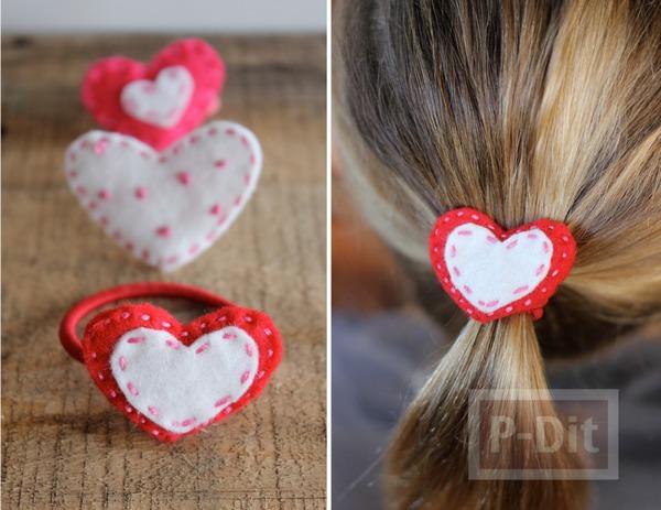 รูป 3 ยางรัดผม ประดับหัวใจผ้า สีสดใส