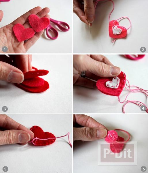 รูป 5 ยางรัดผม ประดับหัวใจผ้า สีสดใส