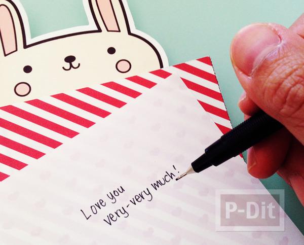 รูป 3 หัวใจกระดาษส่งรัก จากตัวการ์ตูน