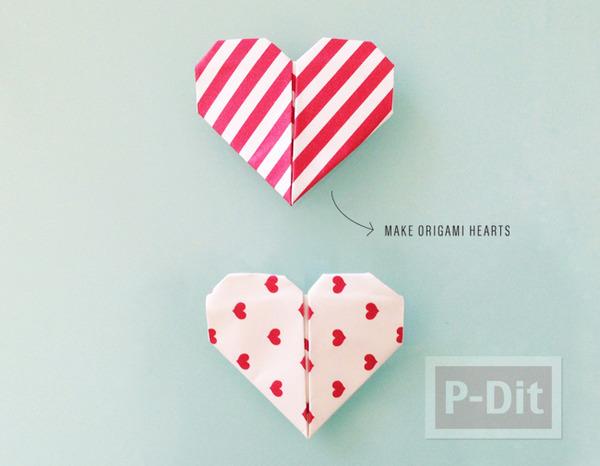 รูป 4 หัวใจกระดาษส่งรัก จากตัวการ์ตูน