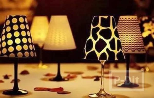 โคมไฟแก้วไวน์ ประดับเทียน เล็กๆ