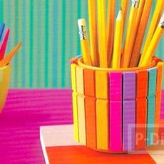 ที่ใส่ดินสอ ตกแต่งจากไม้หนีบผ้าสีสดใส