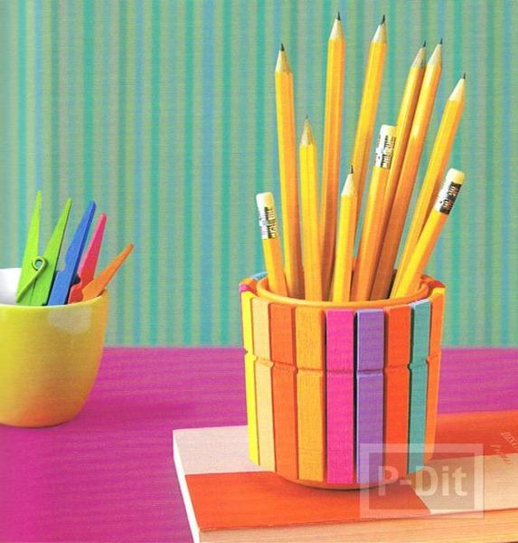 รูป 2 ที่ใส่ดินสอ ตกแต่งจากไม้หนีบผ้าสีสดใส