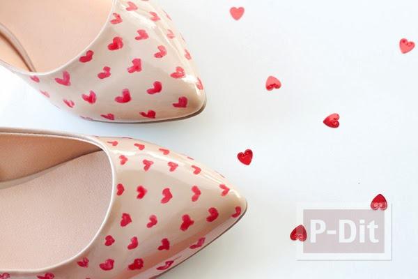 วาดลายหัวใจดวงเล็กๆ ประดับรองเท้า