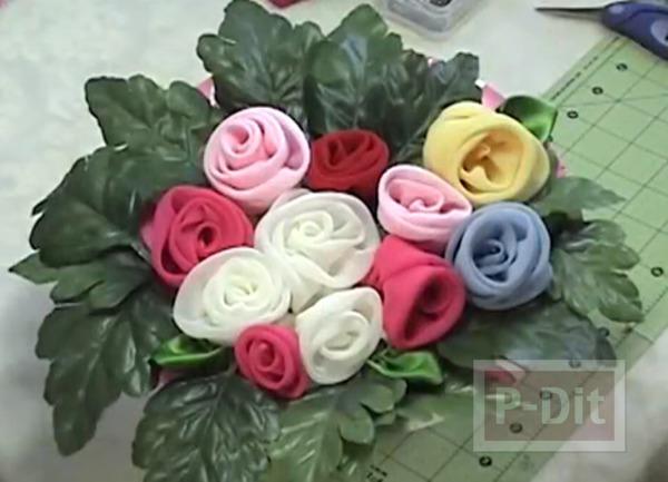 รูป 1 เย็บดอกกุหลาบ จากผ้าบางๆ