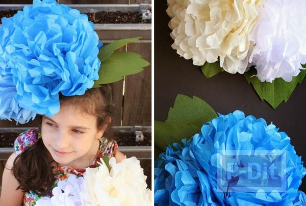 หมวกดอกไม้ ดอกใหญ่ ทำเองจากกระดาษ