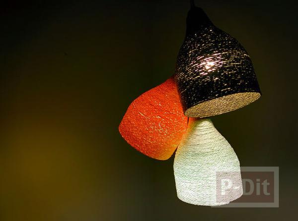 รูป 1 โคมไฟเพดาน ทำจากเชือก