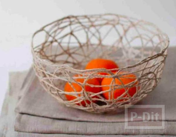 ตะกร้าใส่ผลไม้ ใส่ของกระจุกกระจิก ทำจากเชือกป่าน