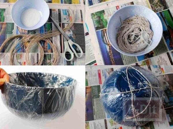 รูป 3 ตะกร้าใส่ผลไม้ ใส่ของกระจุกกระจิก ทำจากเชือกป่าน