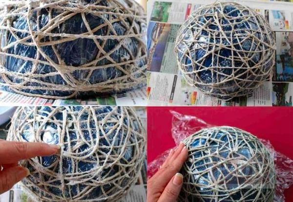 รูป 4 ตะกร้าใส่ผลไม้ ใส่ของกระจุกกระจิก ทำจากเชือกป่าน