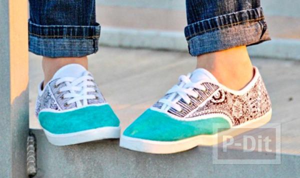 รองเท้าผ้าใบ ตกแต่ง วาดลายสวย