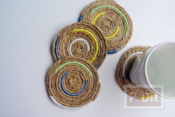 รูป 2 จานรองแก้ว ทำเอง จากเชือกร้อยสีสวย