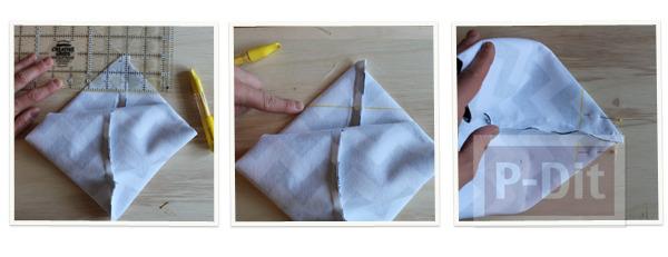 รูป 3 สอนทำถุงถังขยะ ผ้าลาย ประดับโต๊ะทำงาน