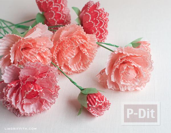 ดอกไม้กระดาษ ทำจากถ้วยคัพเค้ก