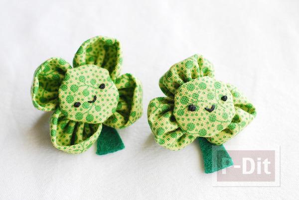 รูป 1 เข็มกลัดดอกไม้สีเขียว ทำจากผ้า
