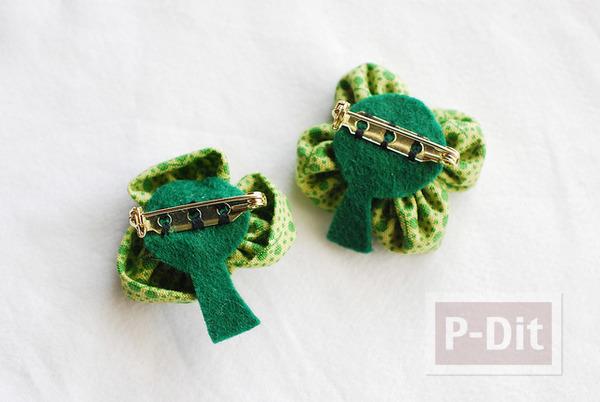 รูป 6 เข็มกลัดดอกไม้สีเขียว ทำจากผ้า