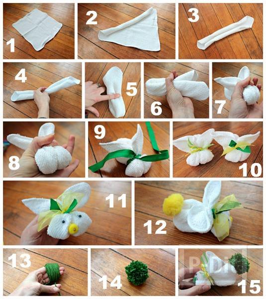 รูป 2 สอนพับผ้าขนหนู เป็นรูปกระต่าย
